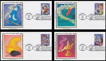 4192 - 4195 / 41c Magic : Art of Disney Series Set of 4 Colorano Silk 2007 FDCs