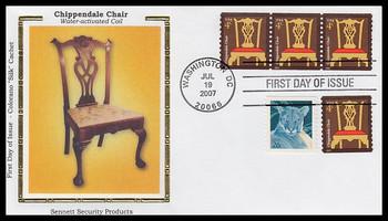 3761 / 4c Chippendale Chair Coil Strip of 3 Colorano Silk 2007 FDC