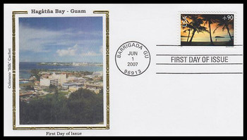 C143 / 90c Hagatna Bay , Guam Airmail Stamp 2007 Colorano Silk FDC