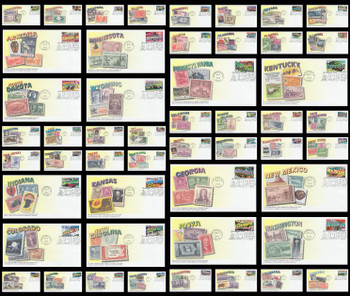 3561 - 3610 / 34c Greetings From America State Capitol Postmarks Set of 50 Mystic 2002 First Day Covers