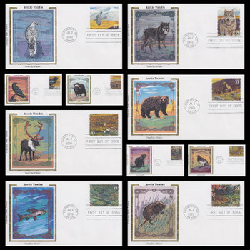 3802 a - j / Arctic Tundra : Nature of America Series Set of 10 Colorano Silk 2003 First Day Covers