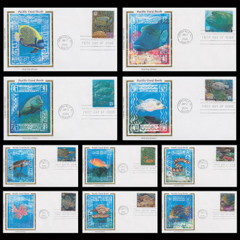 3831 a - j / 37c Pacific Coral Reef : Nature of America Series Set of 10 Colorano Silk 2004 First Day Covers