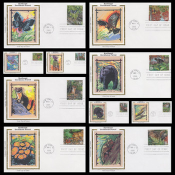3899 a - j / 37c Northeast Deciduous Forest : Nature of America Series Set of 10 Colorano SIlk 2005 First Day Covers