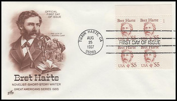 2196 / $5 Bret Harte Plate Block 1987 Artcraft First Day Cover