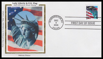 3966 / 39c Statue of Liberty and Flag PSA Sheet APU 2005 Colorano Silk FDC