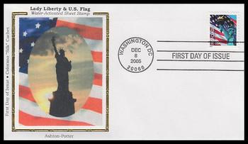3965 / 39c Statue of Liberty and Flag PVA Sheet APU 2005 Colorano Silk FDC