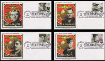3961 - 3964 / 37c Distinguished Marines Washington, DC Postmark Set of 4 Colorano Silk 2005 First Day Covers