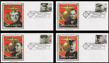 3961 - 3964 / 37c Distinguished Marines Camp Pendleton, CA Postmark Set of 4 Colorano Silk 2005 First Day Covers