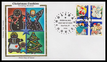 3960a / 37c Holiday Cookies New York, NY Postmark Vending Booklet Block of 4 Colorano Silk 2005 FDC