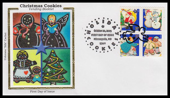 3960a / 37c Holiday Cookies Minneapolis, MN Postmark Vending Booklet Block of 4 Colorano Silk 2005 FDC