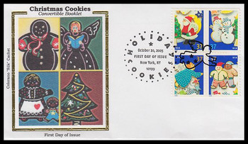 3956a / 37c Holiday Cookies New York, NY Postmark Convertible Booklet Block of 4 Colorano Silk 2005 FDC