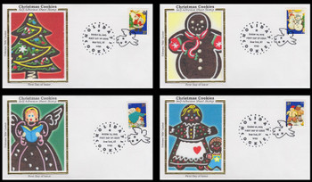 3949 - 3952 / 37c Holiday Cookies New York, NY Postmark Set of 4 Colorano Silk 2005 First Day Covers