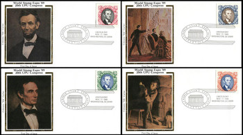 2433a-d / 90c Abraham Lincoln : World Stamp Expo 89 Pictorial Postmark Set of 4 Colorano Silk 1989 FDCs