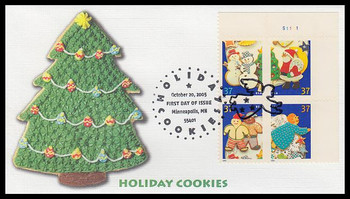 3952a / 37c Holiday Cookies Minneapolis, MN Postmark Plate Block Fleetwood 2005 First Day Cover