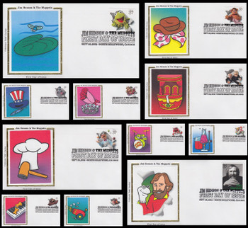 3944 a - k / 37c Jim Henson and The Muppets Set of 11 Colorano Silk 2005 First Day Covers