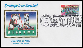 3561 / 34c Alabama : Greetings From America Montgomery, AL Postmark Colorano Silk 2002 First Day Cover