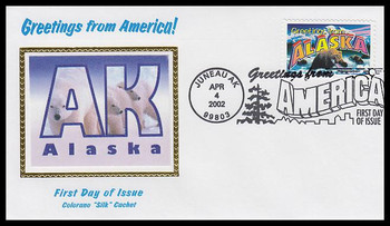 3562 / 34c Alaska : Greetings From America Juneau, AK Postmark Colorano Silk 2002 First Day Cover