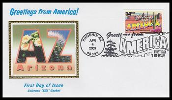 3563 / 34c Arizona : Greetings From America Phoenix, AZ Postmark Colorano Silk 2002 First Day Cover