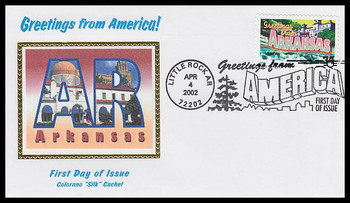 3564 / 34c Arkansas : Greetings From America Little Rock, AR Postmark Colorano Silk 2002 First Day Cover