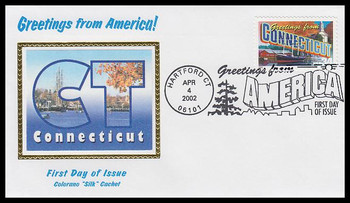 3567 / 34c Connecticut : Greetings From America Hartford, CT Postmark Colorano Silk 2002 First Day Cover