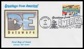 3568 / 34c Delaware : Greetings From America Dover, DE Postmark Colorano Silk 2002 First Day Cover