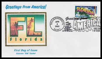 3569 / 34c Florida : Greetings From America Tallahassee, Fl Postmark Colorano Silk 2002 First Day Cover