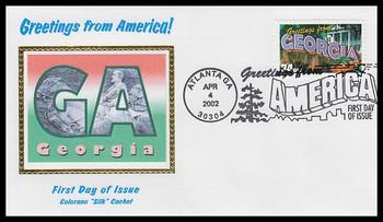 3570 / 34c Georgia : Greetings From America Atlanta, GA Postmark Colorano Silk 2002 First Day Cover