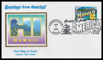 3571 / 34c Hawaii : Greetings From America Honolulu, HI Postmark Colorano Silk 2002 First Day Cover