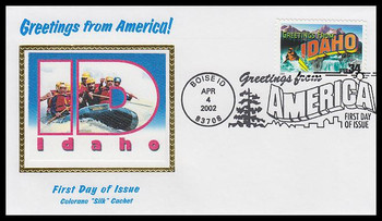 3572 / 34c Idaho : Greetings From America Boise, ID Postmark Colorano Silk 2002 First Day Cover