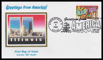3573 / 34c Illinois : Greetings From America Springfield, IL Postmark Colorano Silk 2002 First Day Cover