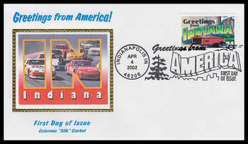 3574 / 34c Indiana : Greetings From America Indianapolis, IN Postmark Colorano Silk 2002 First Day Cover