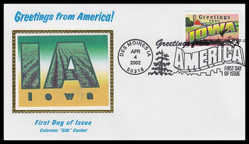 3575 / 34c Iowa : Greetings From America Des Moines, IA Postmark Colorano Silk 2002 First Day Cover