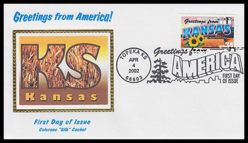 3576 / 34c Kansas : Greetings From America Topeka, KS Postmark Colorano Silk 2002 First Day Cover