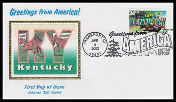3577 / 34c Kentucky : Greetings From America Frankfort, KY Postmark Colorano Silk 2002 First Day Cover