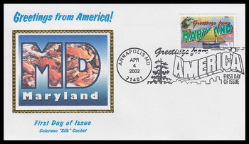 3580 / 34c Maryland : Greetings From America Annapolis, MD Postmark Colorano Silk 2002 First Day Cover