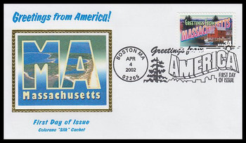 3581 / 34c Massachusetts : Greetings From America Boston, MA Postmark Colorano Silk 2002 First Day Cover