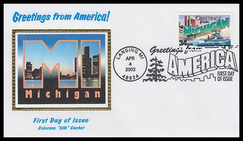 3582 / 34c Michigan : Greetings From America Lansing, MI Postmark Colorano Silk 2002 First Day Cover