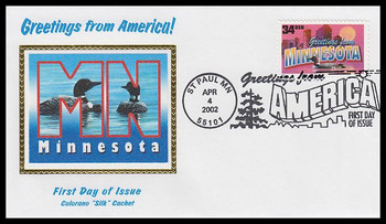 3583 / 34c Minnesota : Greetings From America St Paul, MN Postmark Colorano Silk 2002 First Day Cover