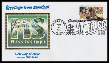 3584 / 34c Mississippi : Greetings From America Jackson, MS Postmark Colorano Silk 2002 First Day Cover