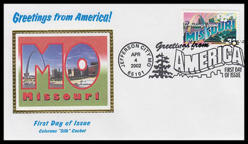 3585 / 34c Missouri : Greetings From America Jefferson City, MO Postmark Colorano Silk 2002 First Day Cover