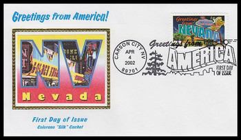3588 / 34c Nevada : Greetings From America Carson City, NV Postmark Colorano Silk 2002 First Day Cover