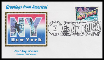3592 / 34c New York : Greetings From America Albany, NY Postmark Colorano Silk 2002 First Day Cover