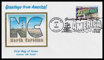 3593 / 34c North Carolina : Greetings From America Raleigh, NC Postmark Colorano Silk 2002 First Day Cover
