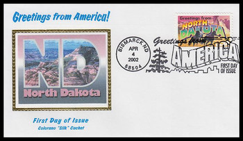 3594 / 34c North Dakota : Greetings From America Bismark, ND Postmark Colorano Silk 2002 First Day Cover