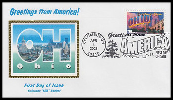 3595 / 34c Ohio : Greetings From America Columbus, OH Postmark Colorano Silk 2002 First Day Cover
