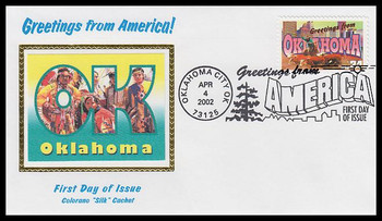 3596 / 34c Oklahoma : Greetings From America Oklahoma City, OK Postmark Colorano Silk 2002 First Day Cover
