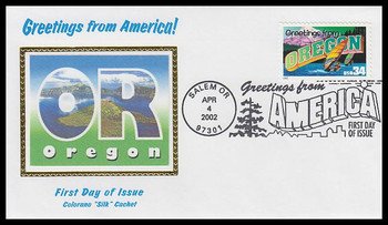 3597 / 34c Oregon : Greetings From America Salem, OR Postmark Colorano Silk 2002 First Day Cover