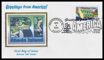 3599 / 34c Rhode Island : Greetings From America Providence, RI Postmark Colorano Silk 2002 First Day Cover