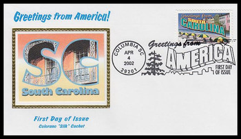 3600 / 34c South Carolina : Greetings From America Columbia, SC Postmark Colorano Silk 2002 First Day Cover