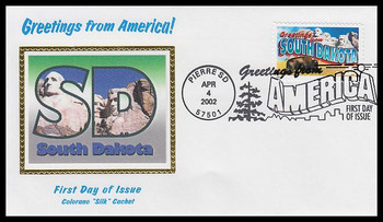 3601 / 34c South Dakota : Greetings From America Pierre, SD Postmark Colorano Silk 2002 First Day Cover